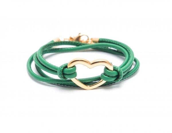 Heart Grün, vergoldet