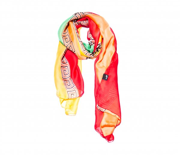 Schal rot / orange / grün / gelb