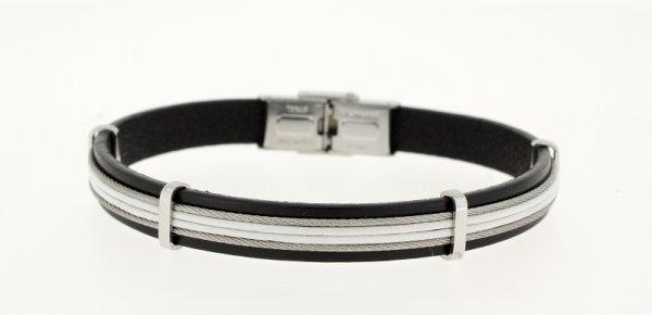 Clochard Fashion Herrenarmband schwarz-silber-weiss