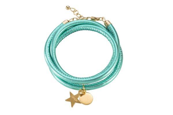 Hollywood Armband smaragd, vergoldet