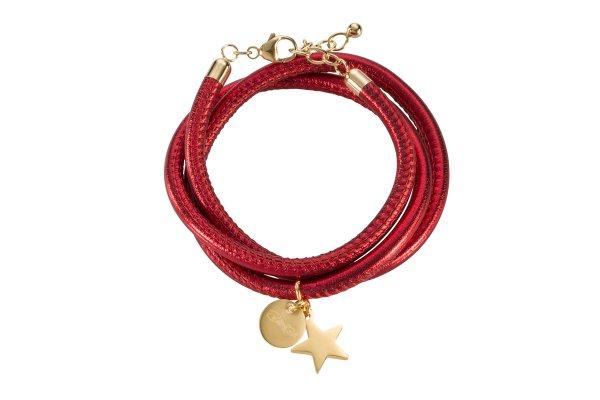 Hollywood Armband rot, vergoldet