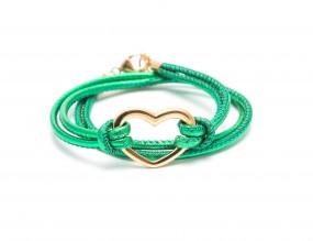 Heart Grün metallic, vergoldet